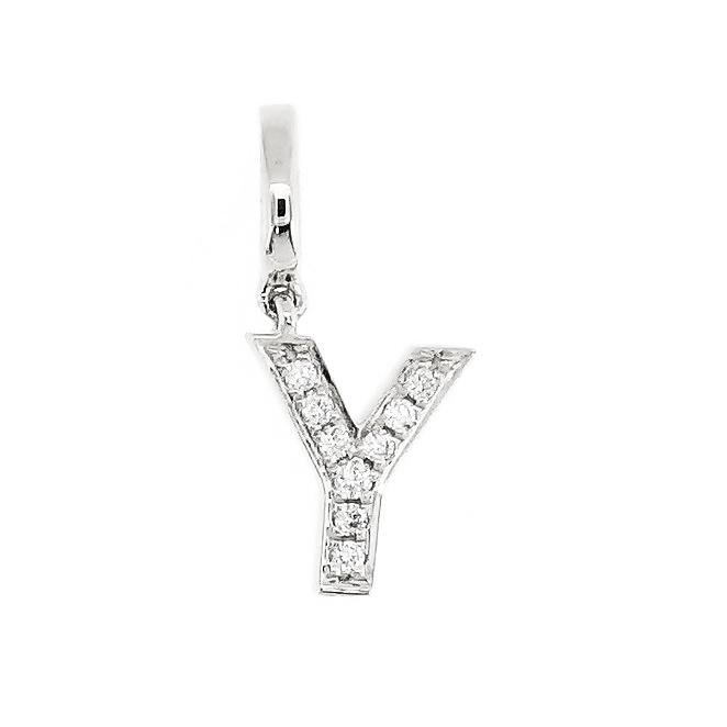 "Alphabet ""Y"" Charm/Pendant in 18K Gold with Diamonds. - Kura Jewellery"