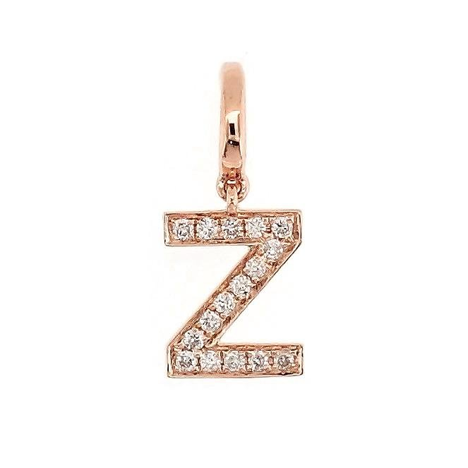 "Alphabet ""Z"" Charm/Pendant in 18K Gold with Diamonds. - Kura Jewellery"
