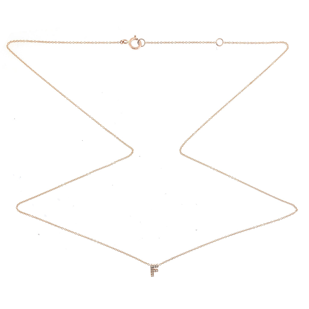 "Skinny Alphabet Necklace ""F"" in 18K Gold with Diamonds."