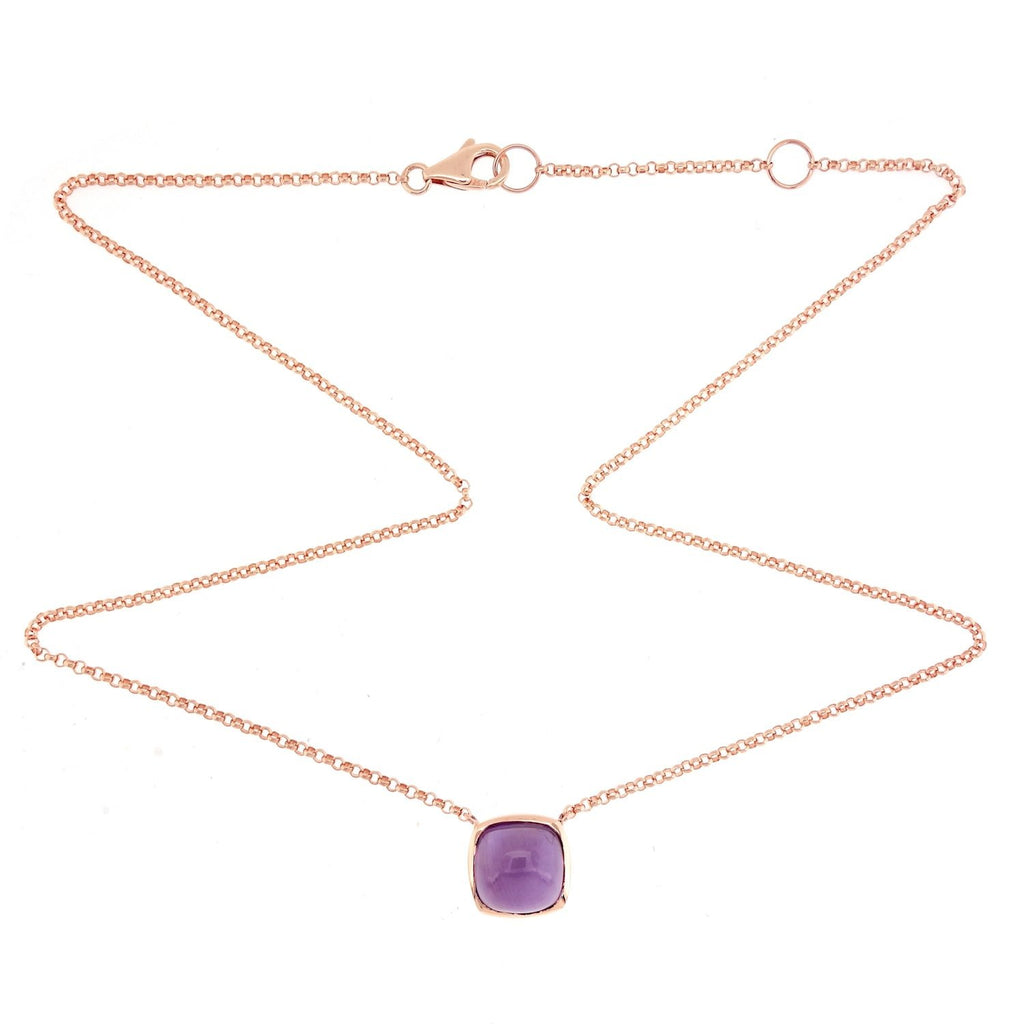 Ana Rock Candy Amethyst Necklace in 18K Rose Gold. - Kura Jewellery