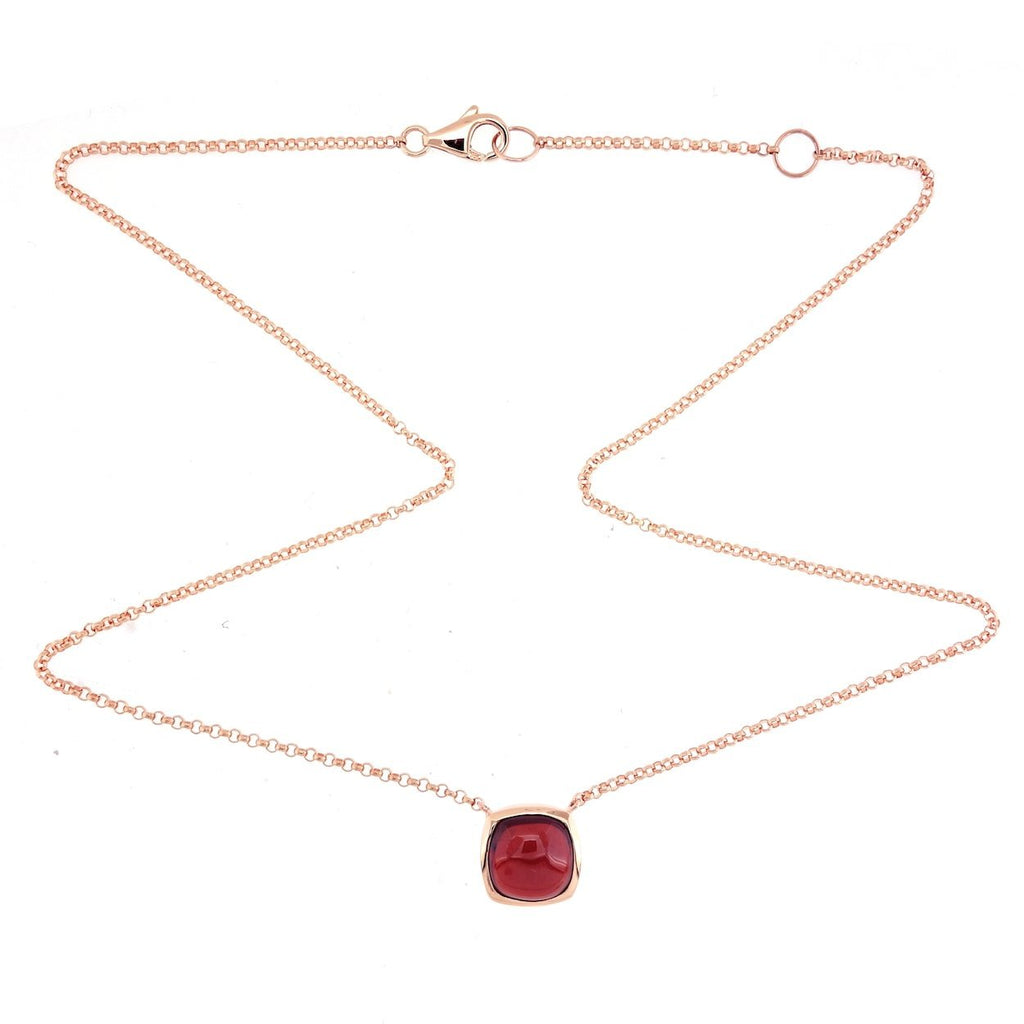 Ana Rock Candy Red Garnet Necklace in 18K Rose Gold - Kura Jewellery