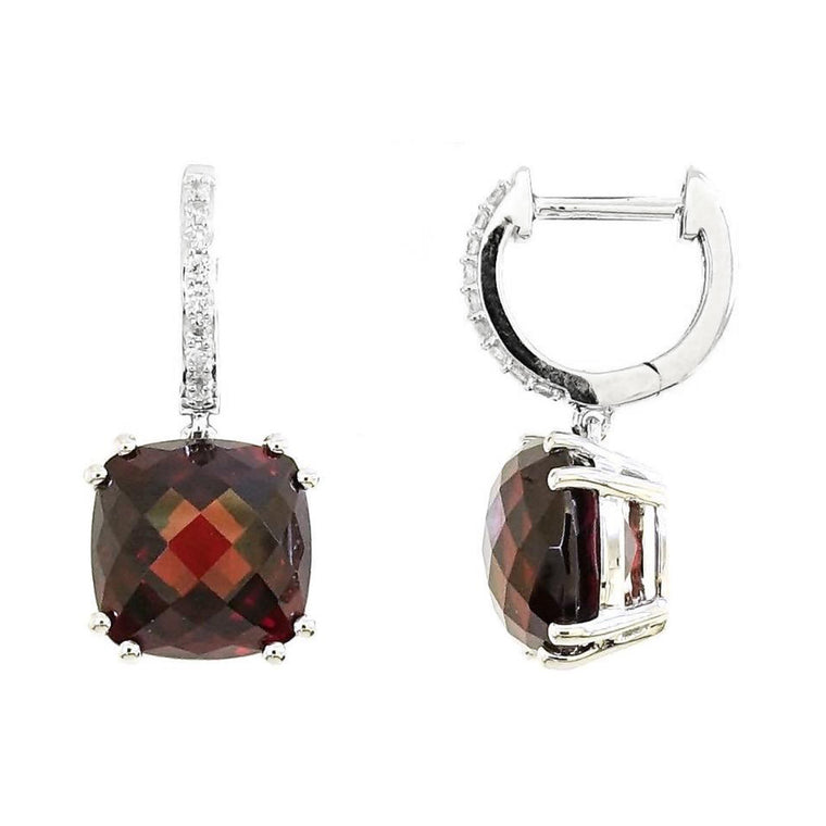 Audra Earrings Red Garnet with Diamonds in 18K White Gold - Kura Jewellery