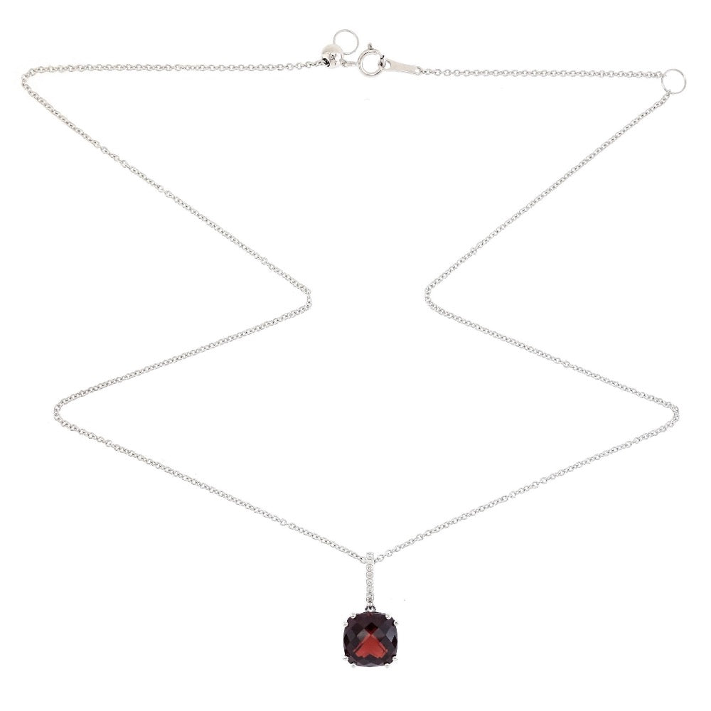Audra Rock Candy Red Garnet Necklace in 18K White Gold . - Kura Jewellery