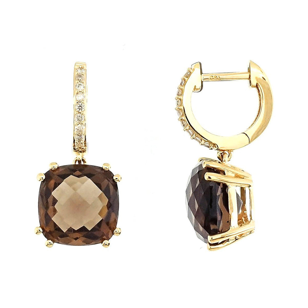 Audra Rock Candy Smoky Quarts Earrings with Diamonds in 18Karat Rose Gold - Kura Jewellery
