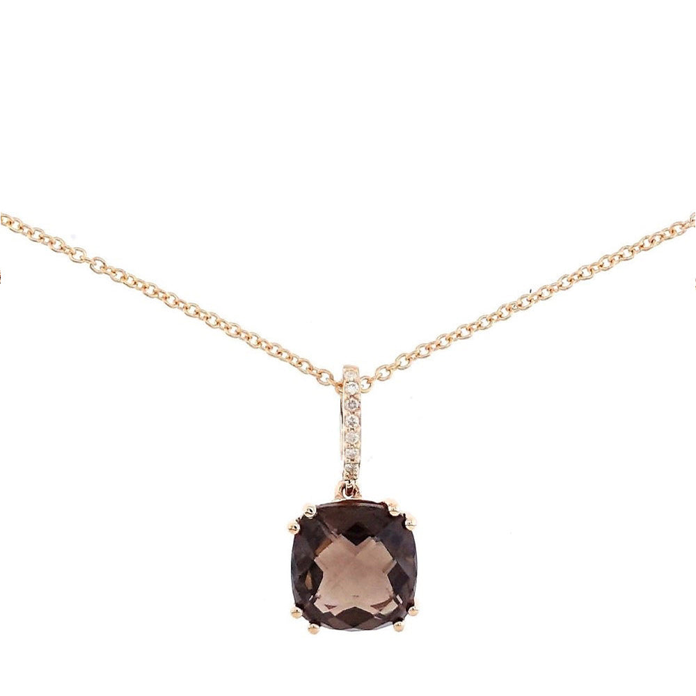 Audra Rock Candy Smoky Quartz Necklace in 18K Rose Gold - Kura Jewellery