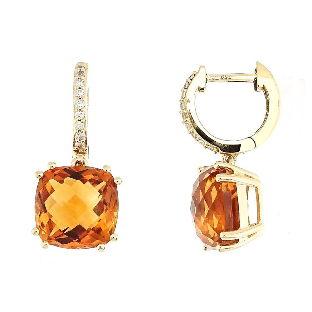 Audra Rock Candy Yellow Citrine Earrings with Diamonds in 18 Karat Yellow Gold - Kura Jewellery