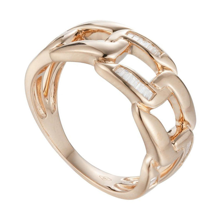 Baguette Diamond Link Ring in 18Karat Gold - Kura Jewellery