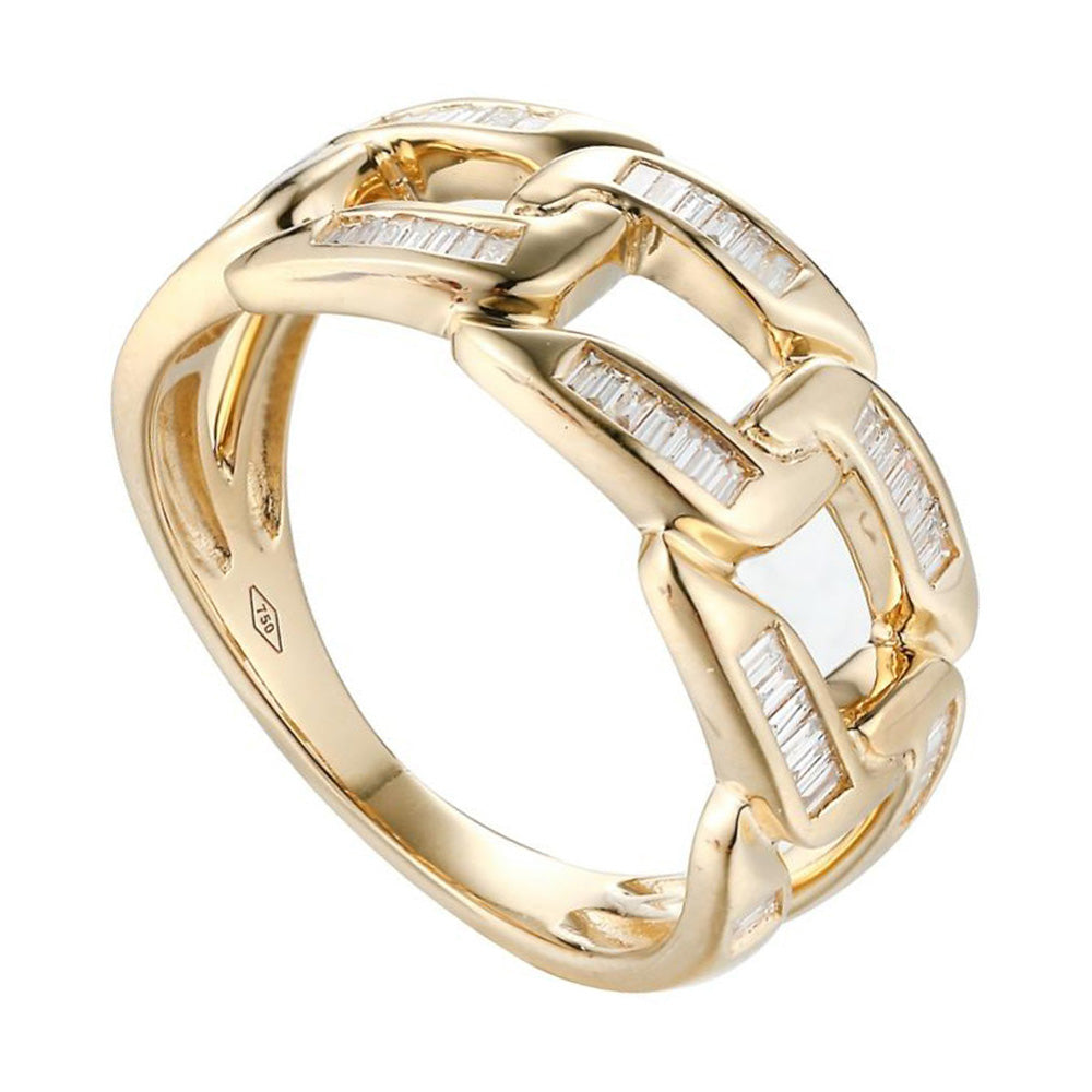Baguette With More Diamond Link Ring in 18Karat Gold - Kura Jewellery