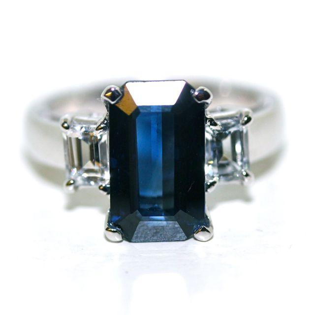 Blue Sapphire Emerald Cut  Engagement Ring set in 18K White Gold