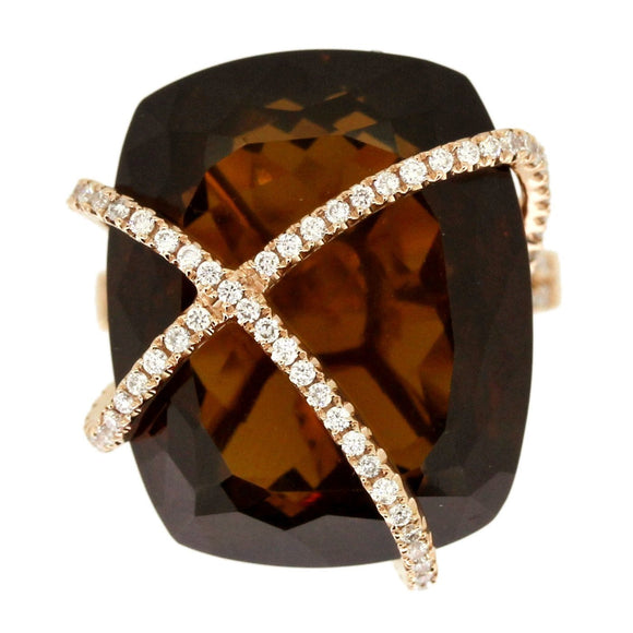 Champagne Quartz Criss Cross Ring- Cushion Cut