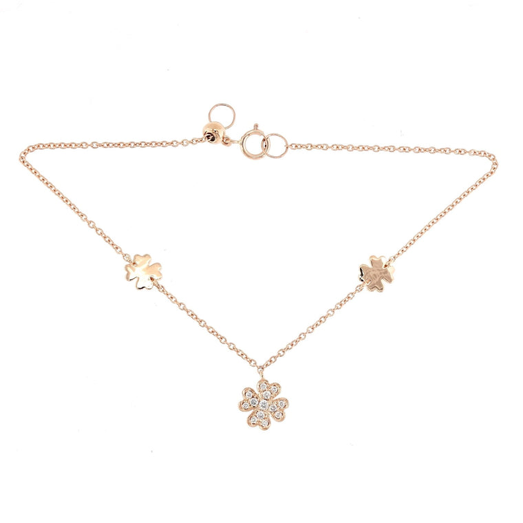 Clover Bracelet with Diamonds in 18K Rose Gold