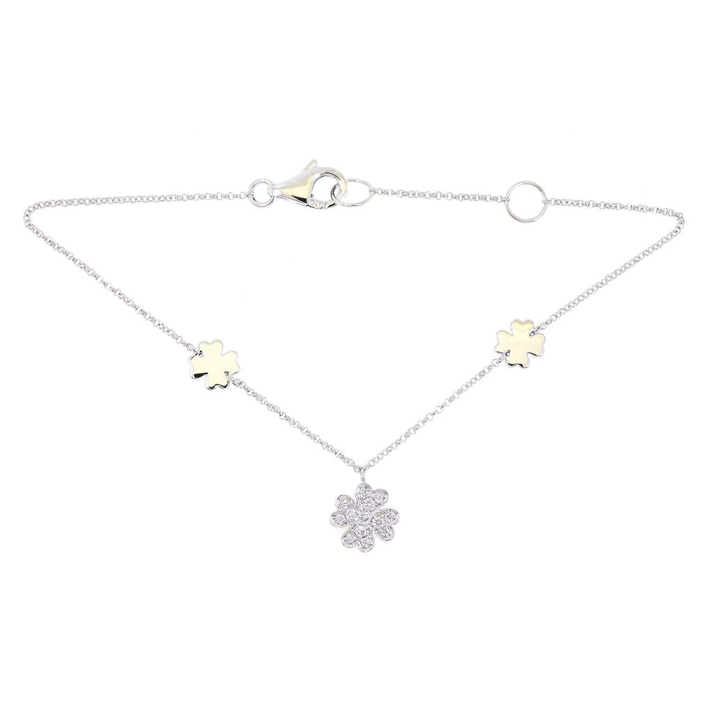 Clover Bracelet with Diamonds in 18K White Gold