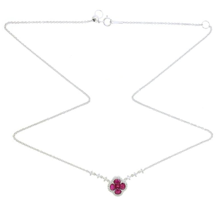 Clover Ruby Choker/Necklace with Diamond in 18k Gold - Kura Jewellery