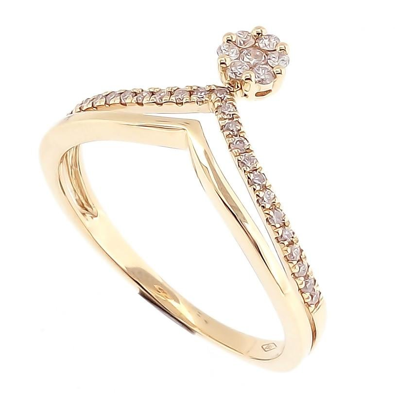 Crown Ring 2-Rows with diamonds in 18Karat Yellow Gold