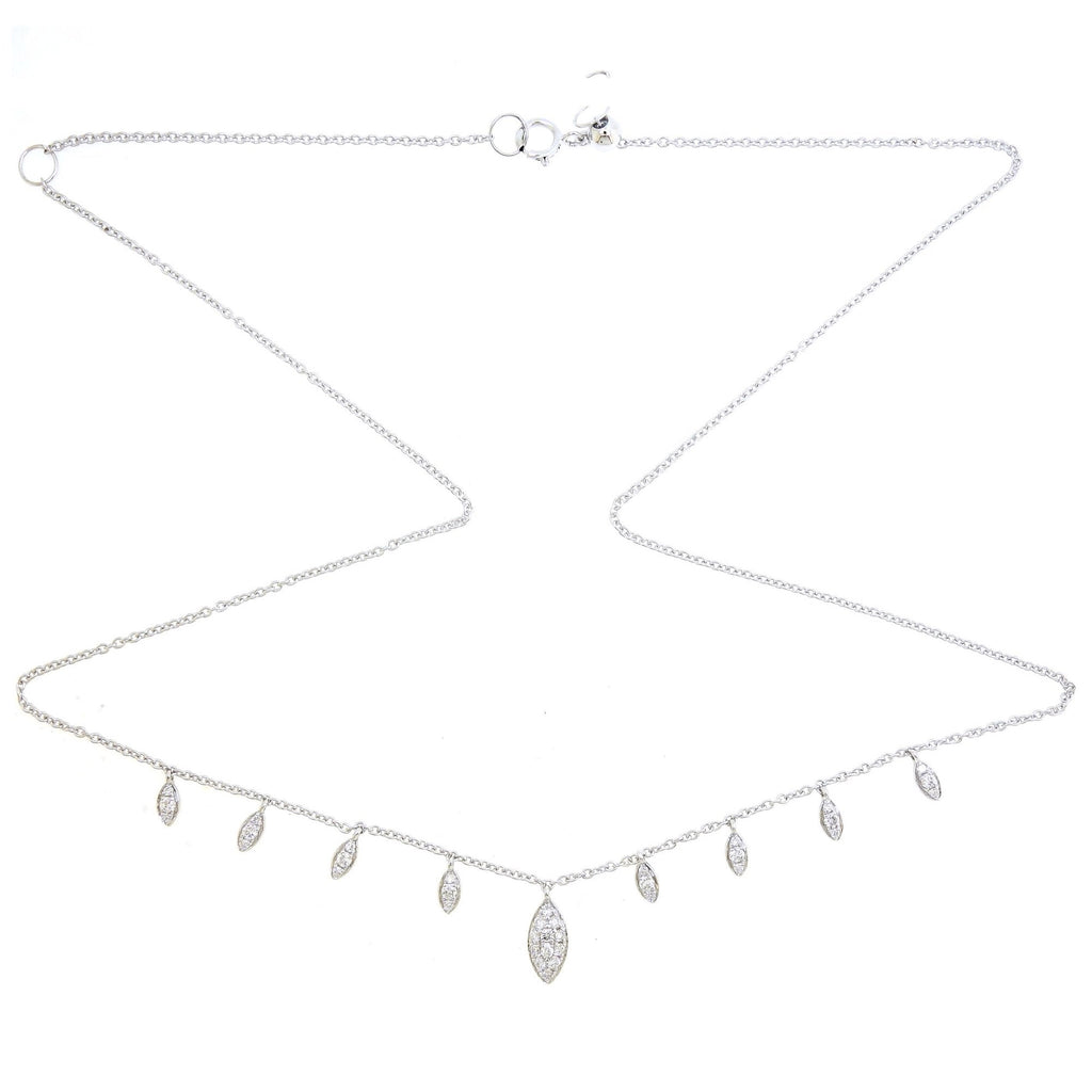 Dainty Necklace/Choker with Marquise Diamond Element in 18Karat White Gold