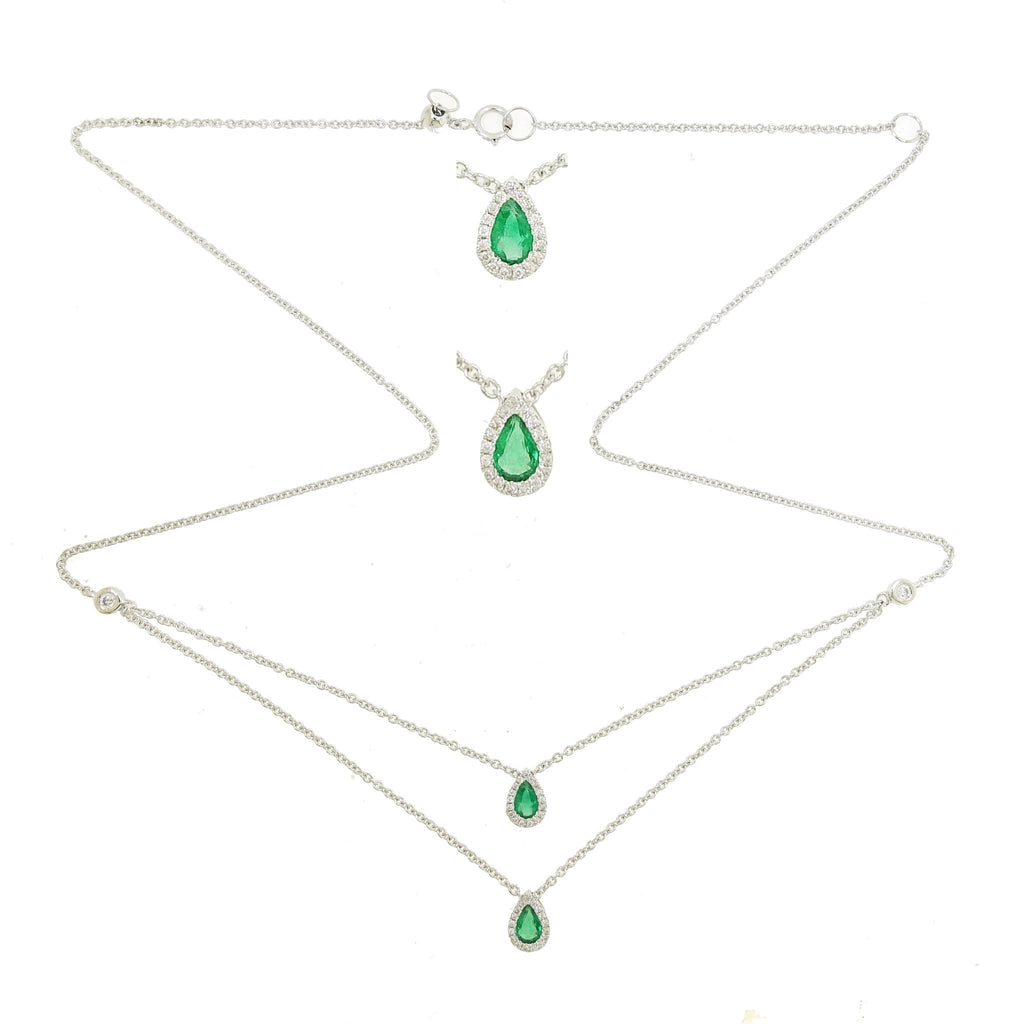 Double Layer Necklace with Tear-drop Emerald  and Diamonds in 18Karat White Gold
