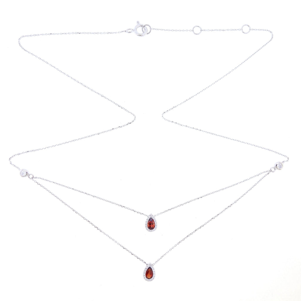 Double Layer Necklace with Tear-drop Ruby and Diamonds in 18Karat White Gold