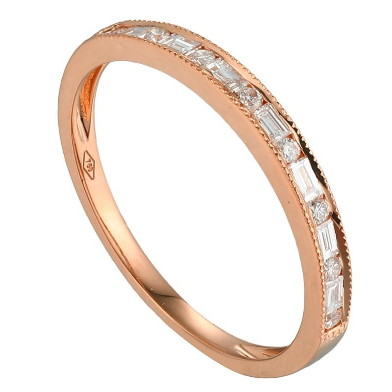 Eternity Half Baguette Diamonds stackable Ring in 18Karat Gold - Kura Jewellery