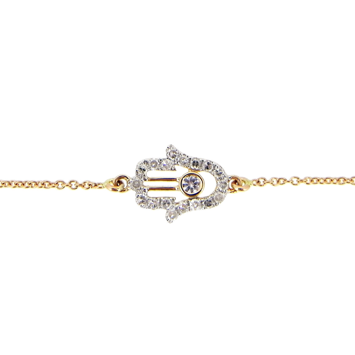 Hamzah White Diamonds Bracelet in 14Karat Rose Gold