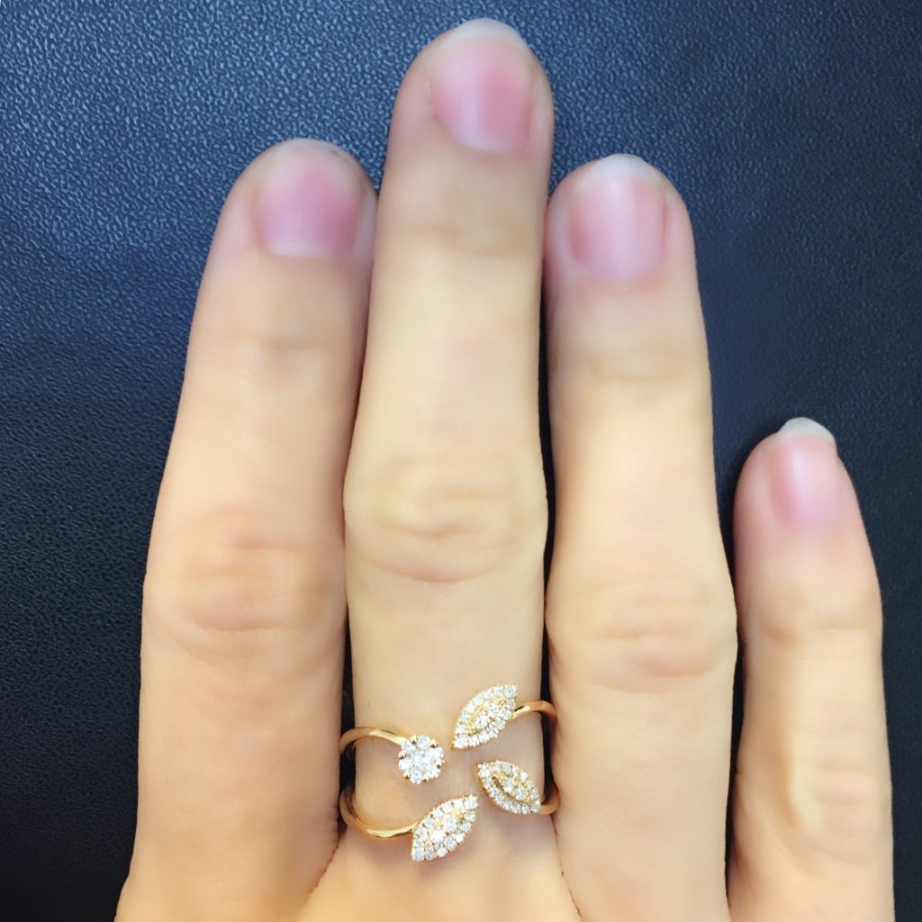 Four Leaves Ring with Diamonds in 18Karat Rose Gold - Kura Jewellery