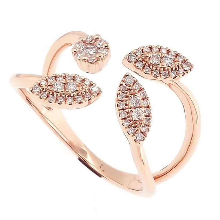 Four Leaves Ring with Diamonds in 18Karat Rose Gold