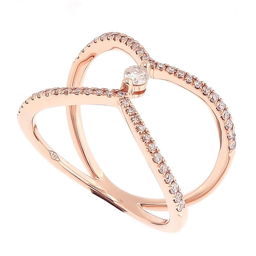 Galaxi Ring with Round Diamond Center in 18Karat Rose Gold