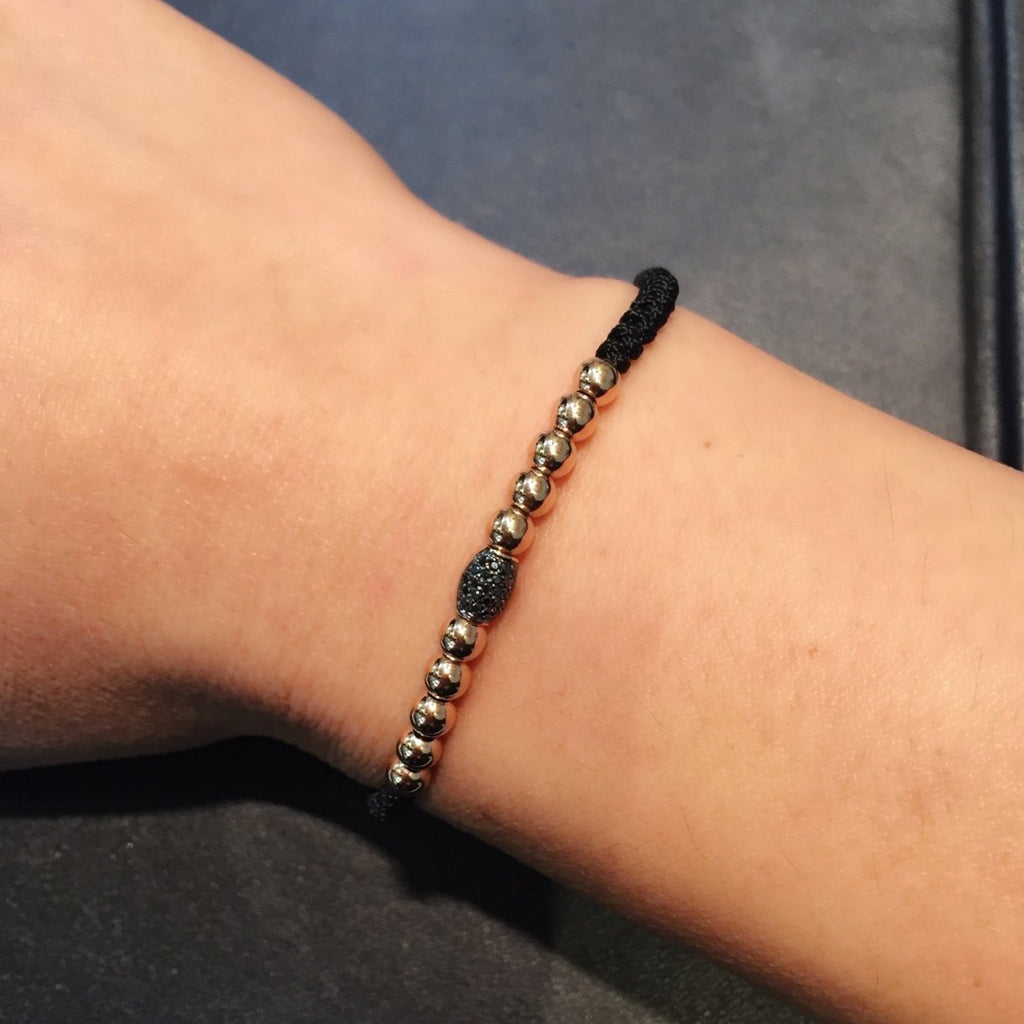 Gold Beads Bracelet with Black Pave Diamond Element in 18K Rose Gold - Kura Jewellery