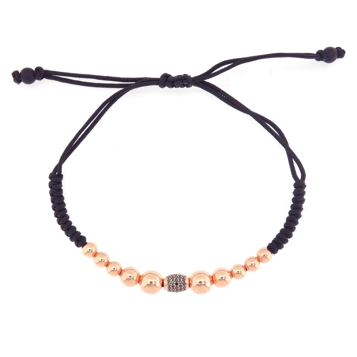 Gold Beads Bracelet with Black Pave Diamond Element in 18K Rose Gold