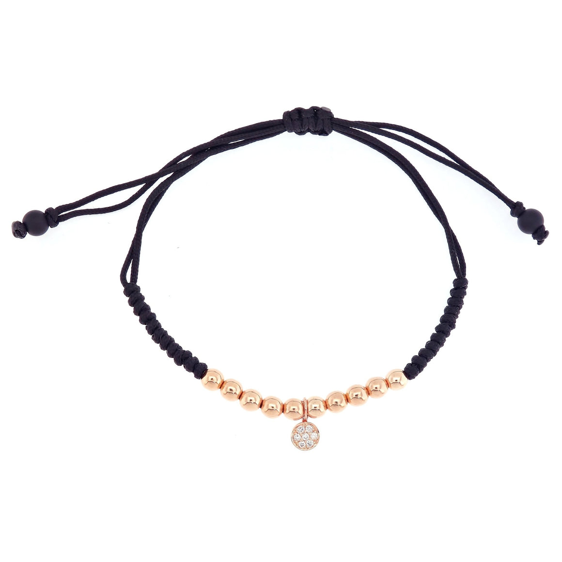 Gold Beads Bracelet with Round Pave Diamond in 18K Rose Gold