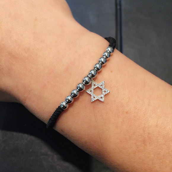 Gold Beads Bracelet with Star of David in 18K White Gold