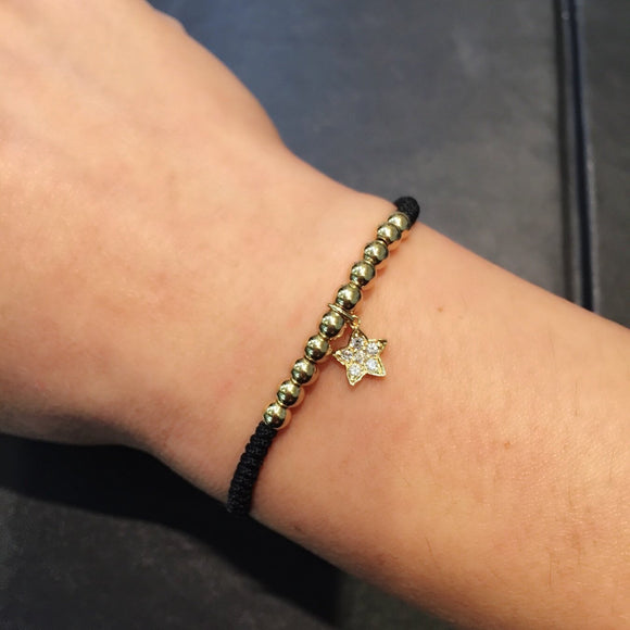 Gold Beads Bracelet with Tiny Star in 18K Yellow Gold