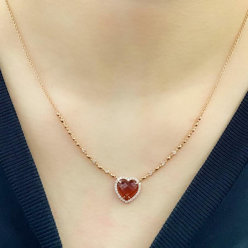 Heart Red Garnet Gemstone Necklace with diamonds in 18K Rose Gold - Kura Jewellery