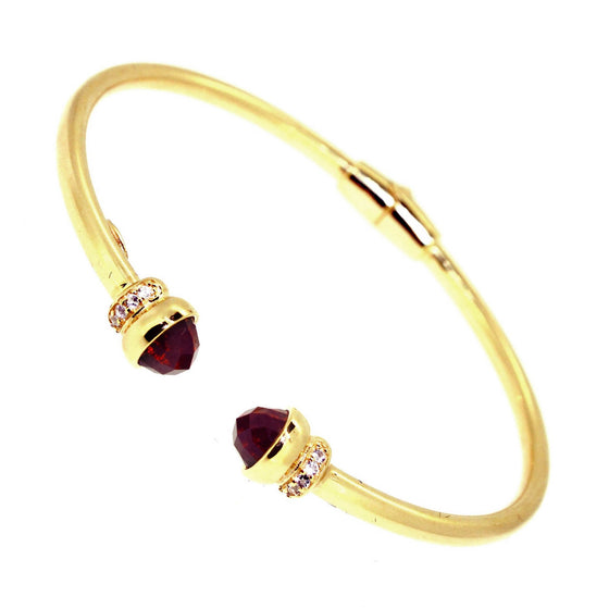 Inez Cuff Red Garnet - 18K Yellow Gold Plated on 925 Sterling Silver