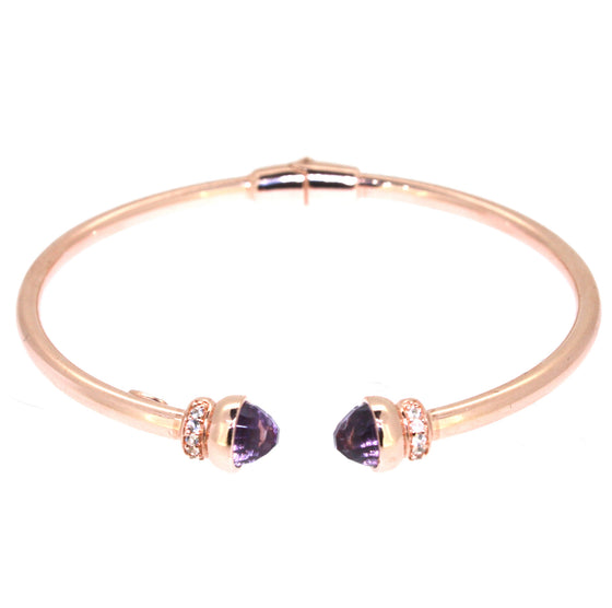 Inez Cuff  Purple Amethyst - Rose Gold Plated on Sterling Silver