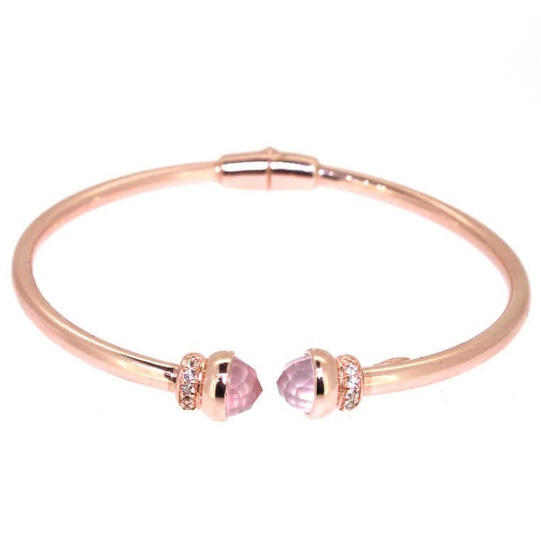 Inez Cuff Rose Quartz - 18K Rose Gold Plated on 925 Sterling Silver