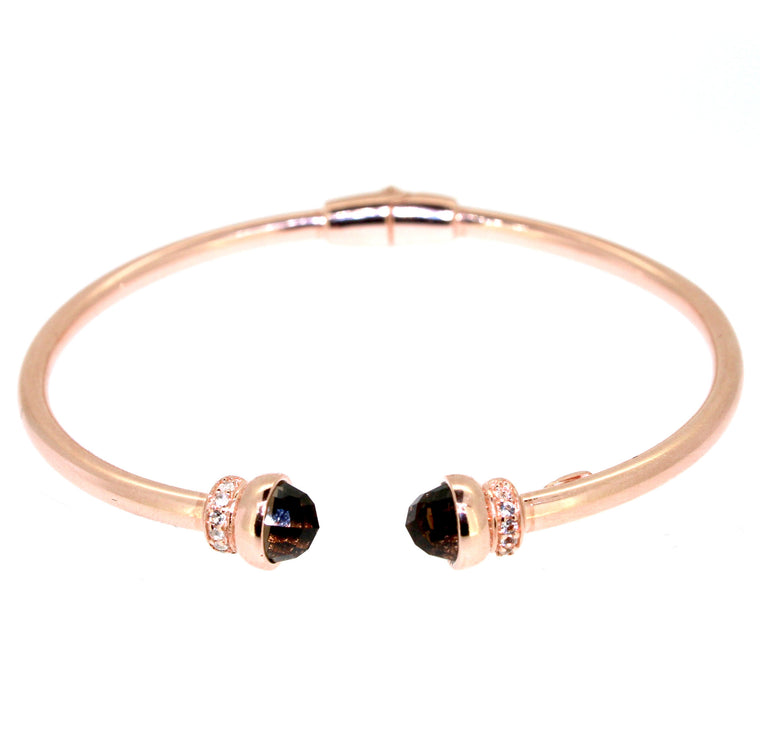 Inez Cuff  Smoky Quartz - Rose Gold Plated on Sterling Silver