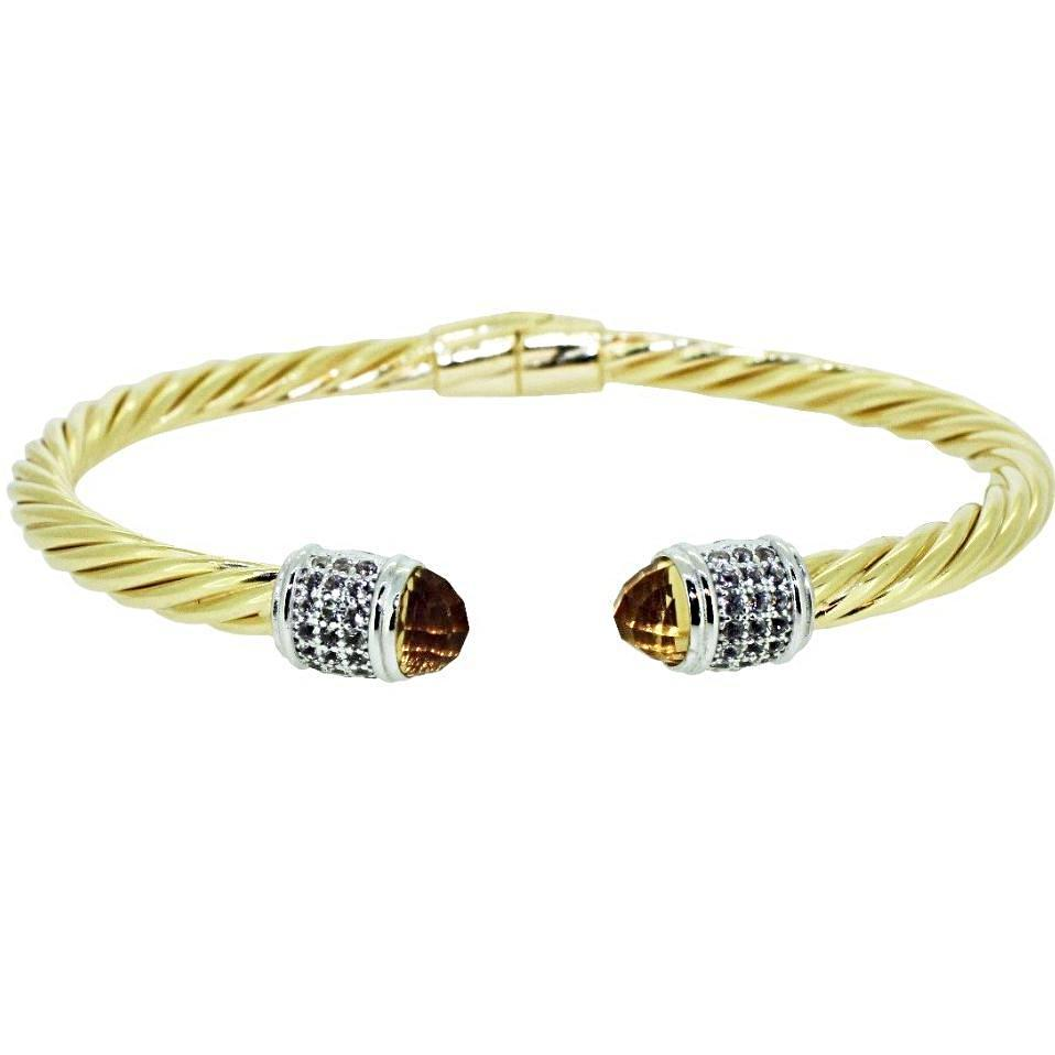 Iris Cable Cuff  Bracelet Yellow Citrine - 18K Yellow Gold Plated on 925 Sterling Silver