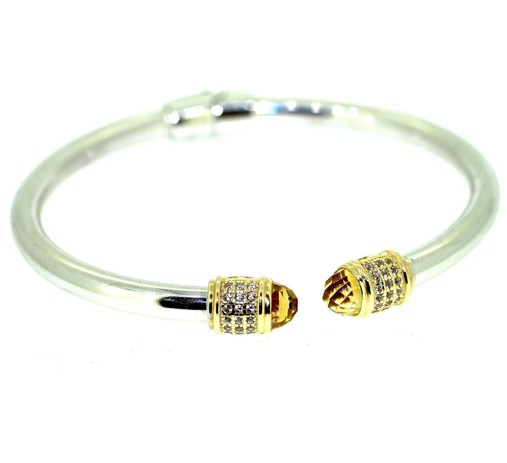Iris Cuff Bracelet Yellow Citrine - Sterling Silver Yellow Tip