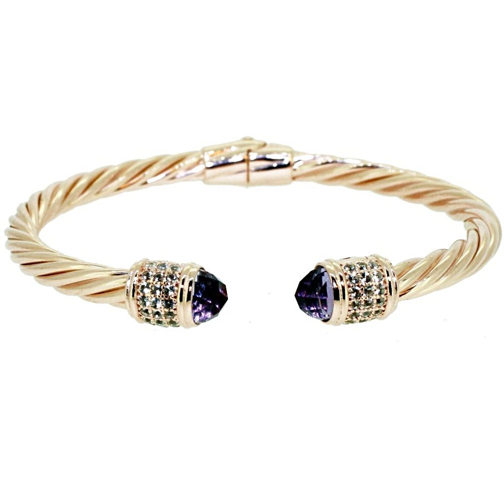 0e5892346a9 Iris Cable Cuff Bracelet Purple Amethyst - 18K Rose Gold Plated on 925  Sterling Silver
