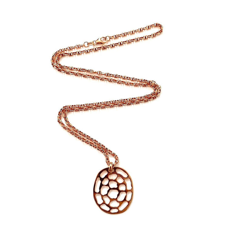 Kura Medium Logo Necklace on Figaro Light Chain in 18K Rose Gold - Kura Jewellery