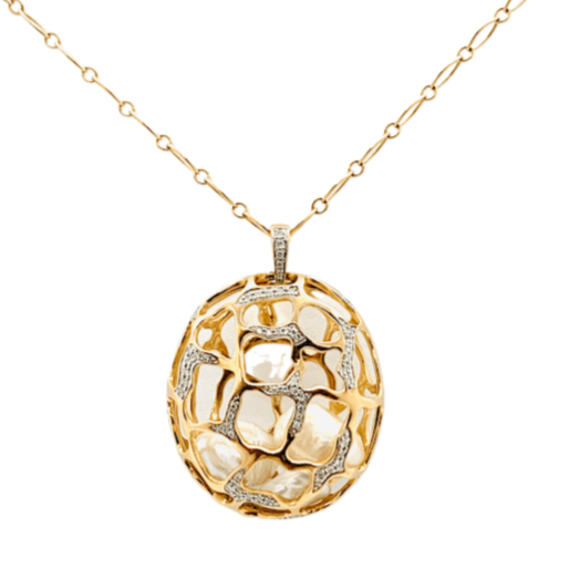 Kura Signature Cage Pendant Necklace without Diamond in 18 Karat Gold with Keshi Pearls Insert - Kura Jewellery