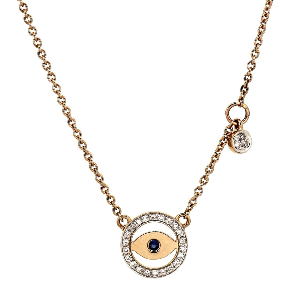 Evil Eyes Necklace With Diamond Element in 14Karat Rose Gold