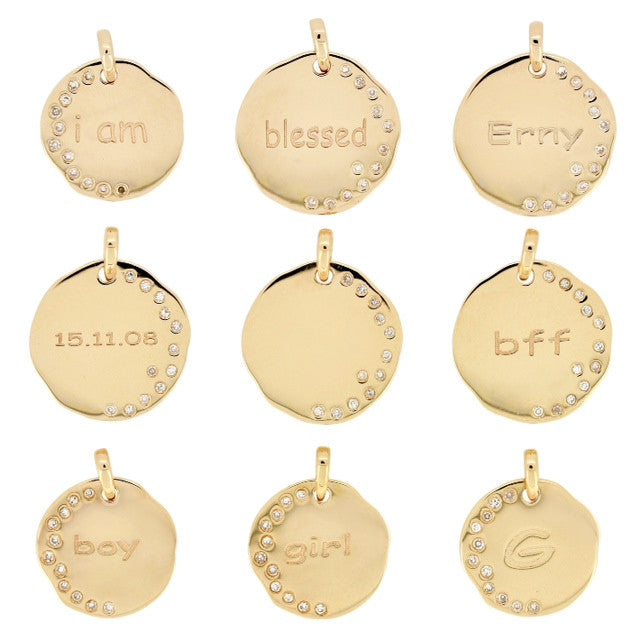 Disc pendant necklace write your own message 14karat gold kura disc pendant necklace write your own message 14karat gold aloadofball Image collections