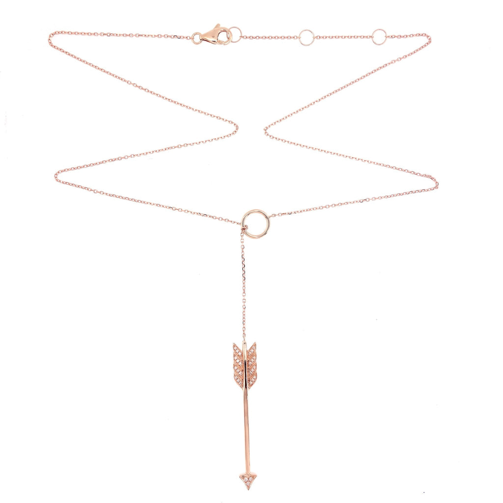 Lariat Style Necklace with Dangling Arrow with diamonds  in 18Karat Rose Gold