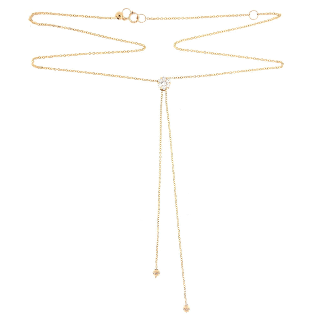 Lariat Style Necklace with pave diamonds in 18Karat Yellow Gold