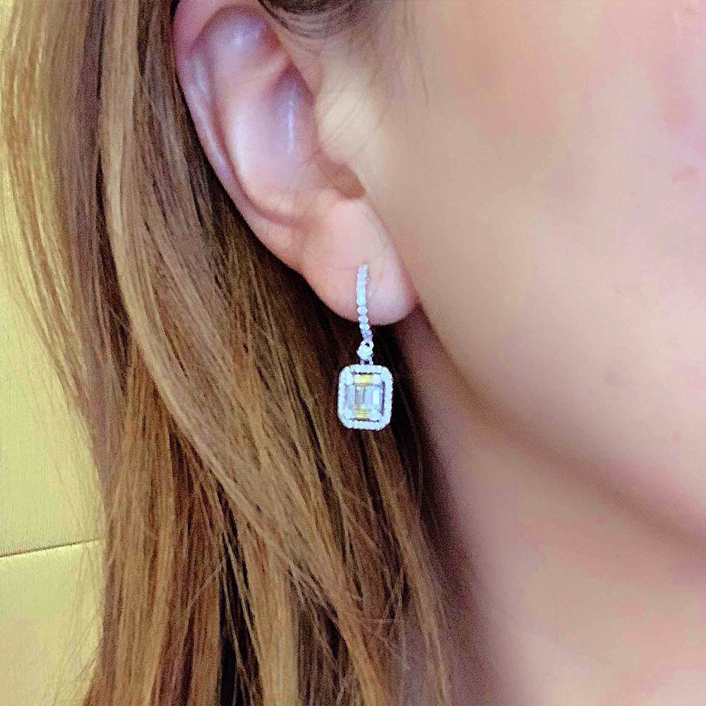 Lila Baguette Diamond Dangling Earrings In 18K White Gold - Kura Jewellery