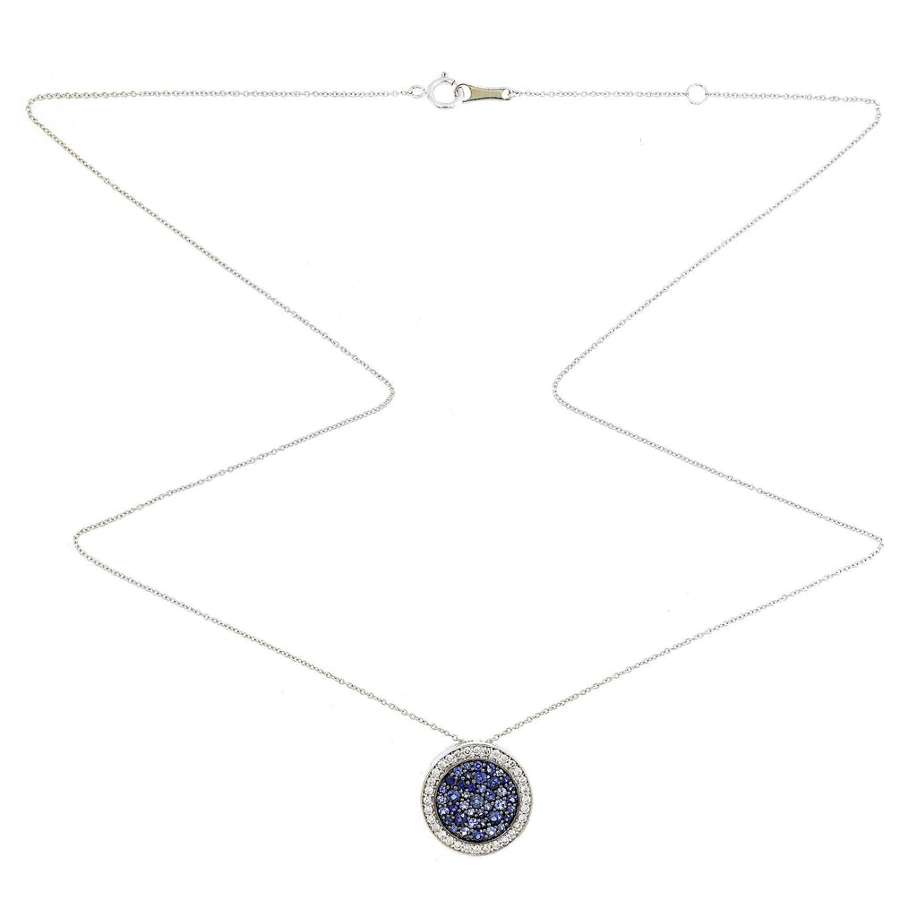 Lily Blue Sapphire Disc Necklace in 18K White Gold - Kura Jewellery