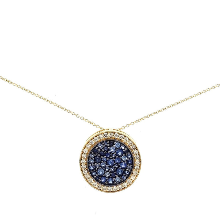 Lily Blue Sapphire Disc Necklace in 18K Yellow Gold - Kura Jewellery