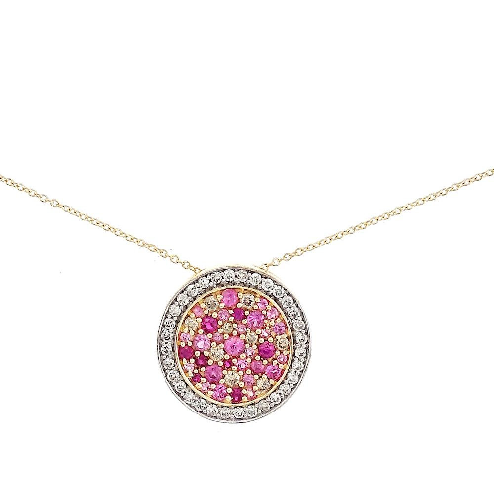 Lily Ruby and Pink Sapphire Disc Necklace in 18K White Gold - Kura Jewellery