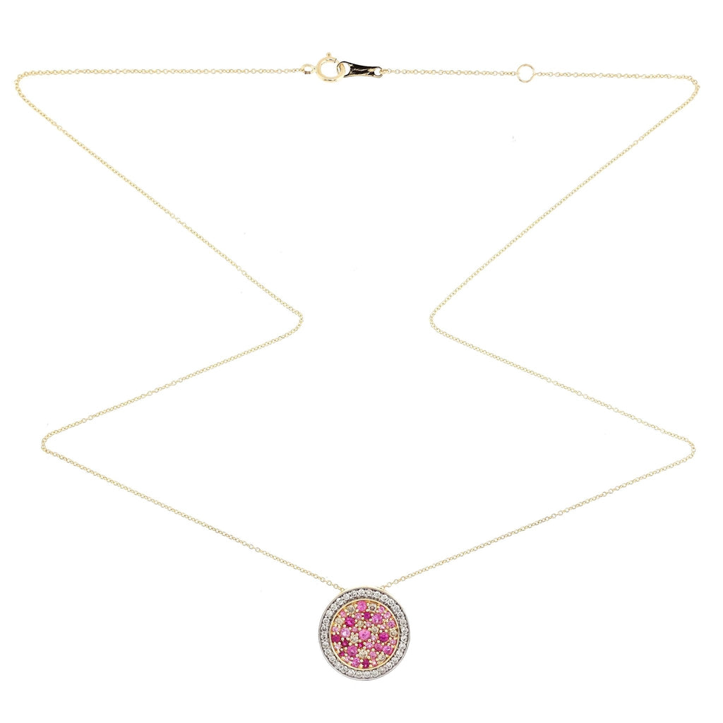Lily Ruby and Pink Sapphire Disc Necklace in 18K Yellow Gold - Kura Jewellery